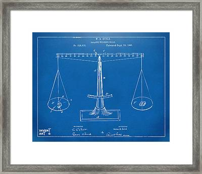 1885 Balance Weighing Scale Patent Artwork Blueprint Framed Print by Nikki Marie Smith