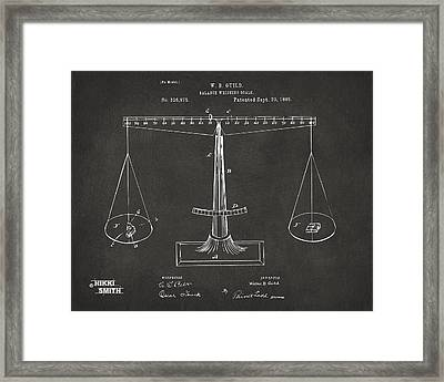 1885 Balance Weighing Scale Patent Artwork - Gray Framed Print