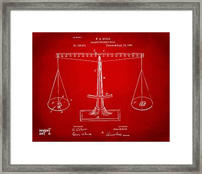 1885 Balance Weighing Scale Patent Artwork Red Framed Print by Nikki Marie Smith