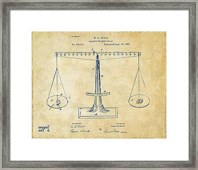 1885 Balance Weighing Scale Patent Artwork Vintage Framed Print by Nikki Marie Smith
