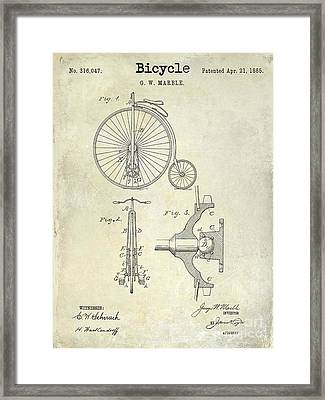 1885 Bicycle Patent Drawing  Framed Print
