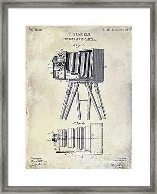 1885 Camera Patent Drawing  Framed Print by Jon Neidert