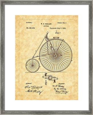 1885 Kelly Large Wheel Bicycle Patent Framed Print