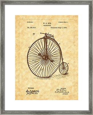 1885 Nye Velocipede Patent Framed Print by Barry Jones