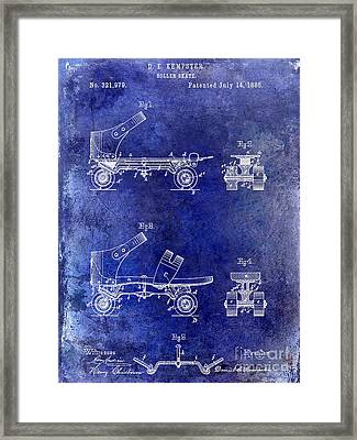 1885 Roller Skate Patent Drawing Blue Framed Print