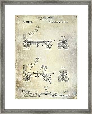 1885 Roller Skate Patent Drawing Framed Print