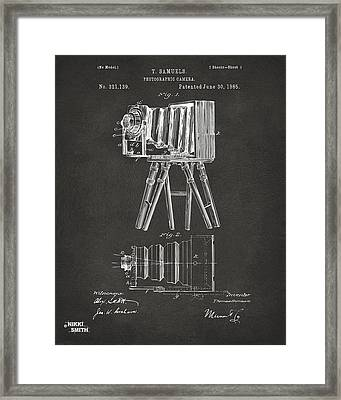 1885 Samuels Camera Patent Artwork - Gray Framed Print by Nikki Marie Smith