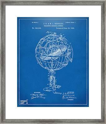 1885 Terrestro Sidereal Sphere Patent Artwork - Blueprint Framed Print