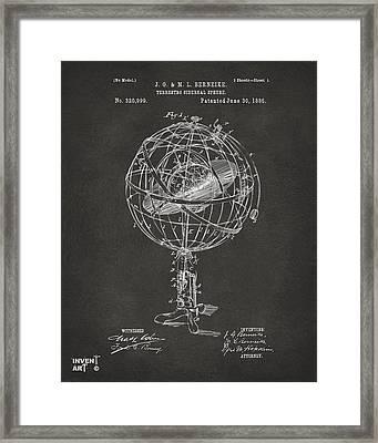 1885 Terrestro Sidereal Sphere Patent Artwork - Gray Framed Print