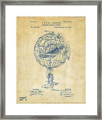 1885 Terrestro Sidereal Sphere Patent Artwork - Vintage Framed Print