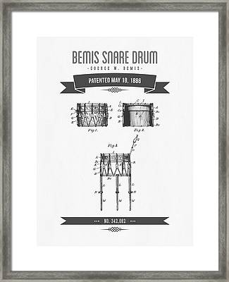 1886 Bemis Snare Drum Patent Drawing Framed Print by Aged Pixel
