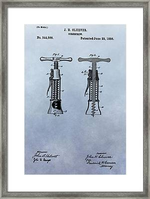 1886 Corkscrew Patent Framed Print by Dan Sproul