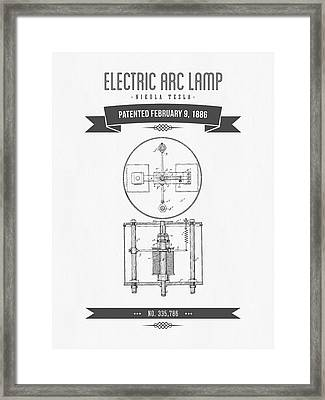 1886 Nikola Tesla Electric Arc Lamp Patent Patent Drawing - Retr Framed Print