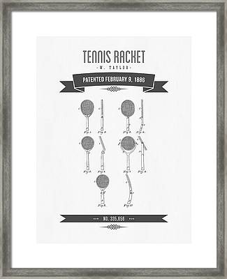 1886 Tennis Racket Patent Drawing - Retro Gray Framed Print by Aged Pixel