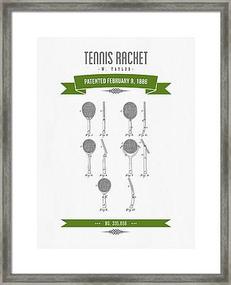 1886 Tennis Racket Patent Drawing - Retro Green Framed Print by Aged Pixel