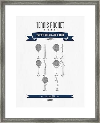 1886 Tennis Racket Patent Drawing - Retro Navy Blue Framed Print by Aged Pixel