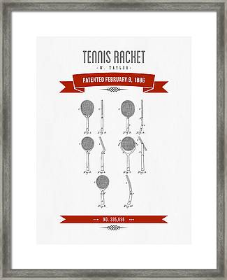 1886 Tennis Racket Patent Drawing - Retro Red Framed Print by Aged Pixel