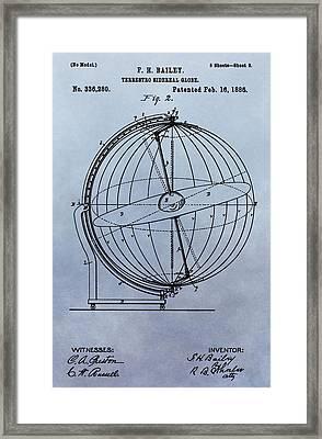1886 Terrestro Globe Patent Framed Print