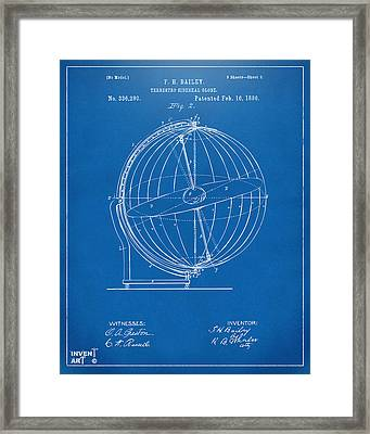 1886 Terrestro Sidereal Globe Patent 2 Artwork - Blueprint Framed Print
