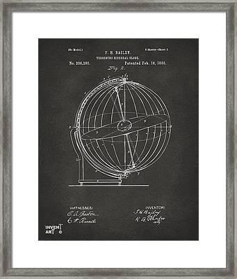 1886 Terrestro Sidereal Globe Patent 2 Artwork - Gray Framed Print