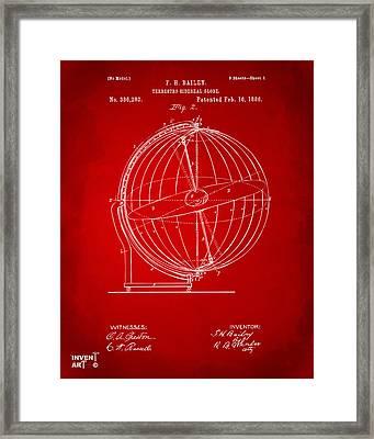 1886 Terrestro Sidereal Globe Patent 2 Artwork - Red Framed Print