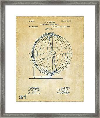 1886 Terrestro Sidereal Globe Patent 2 Artwork - Vintage Framed Print
