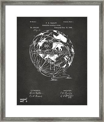 1886 Terrestro Sidereal Globe Patent Artwork - Gray Framed Print
