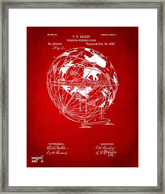 1886 Terrestro Sidereal Globe Patent Artwork - Red Framed Print