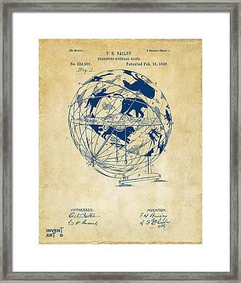 1886 Terrestro Sidereal Globe Patent Artwork - Vintage Framed Print