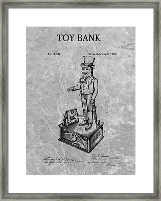 1886 Toy Bank Patent Charcoal Framed Print by Dan Sproul
