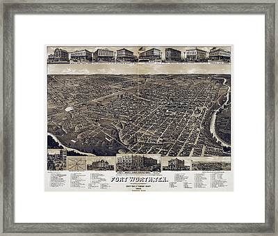 1886 Vintage Map Of Fort Worth Framed Print