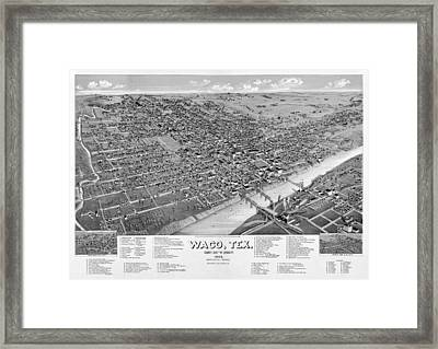 1886 Vintage Map Of Waco Texas Framed Print by Stephen Stookey
