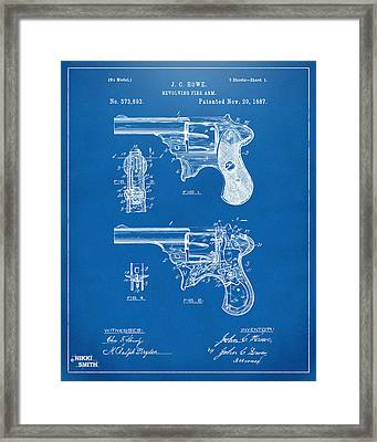 1887 Howe Revolver Patent Artwork - Blueprint Framed Print