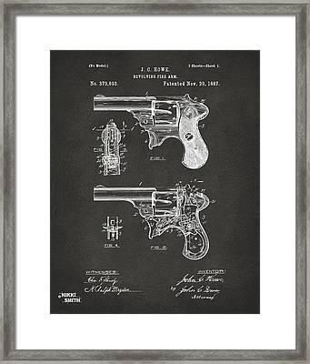 1887 Howe Revolver Patent Artwork - Gray Framed Print