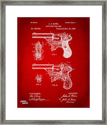 1887 Howe Revolver Patent Artwork - Red Framed Print by Nikki Marie Smith