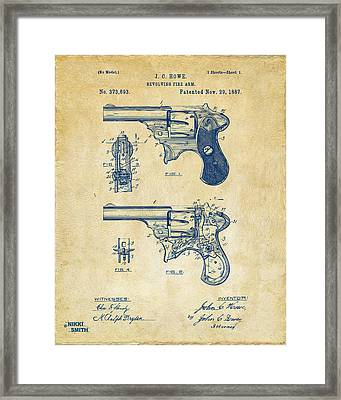 1887 Howe Revolver Patent Artwork - Vintage Framed Print by Nikki Marie Smith