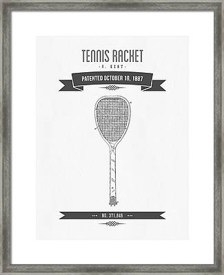 1887 Tennis Racket Patent Drawing - Retro Gray Framed Print by Aged Pixel