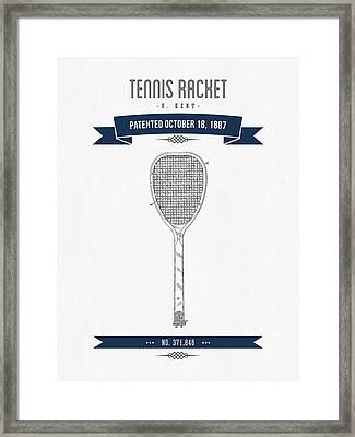 1887 Tennis Racket Patent Drawing - Retro Navy Blue Framed Print by Aged Pixel