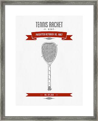 1887 Tennis Racket Patent Drawing - Retro Red Framed Print by Aged Pixel