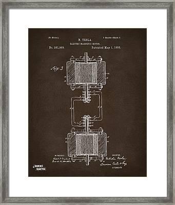 1888 Tesla Electro Magnetic Motor Patent Espresso Framed Print