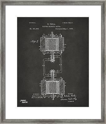 1888 Tesla Electro Magnetic Motor Patent - Gray Framed Print
