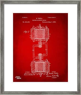1888 Tesla Electro Magnetic Motor Patent - Red Framed Print