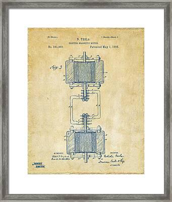 1888 Tesla Electro Magnetic Motor Patent - Vintage Framed Print