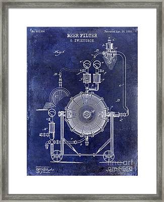 1889 Beer Filter Patent Drawing Blue  Framed Print by Jon Neidert