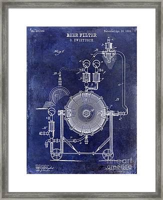 1889 Beer Filter Patent Drawing Blue  Framed Print