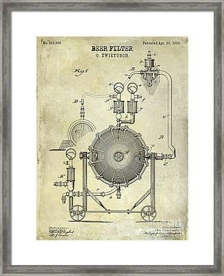1889 Beer Filter Patent Drawing Framed Print