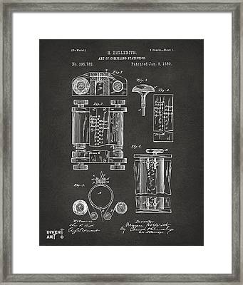 1889 First Computer Patent Gray Framed Print by Nikki Marie Smith