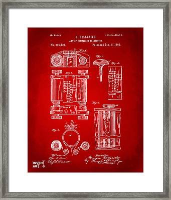 1889 First Computer Patent Red Framed Print by Nikki Marie Smith