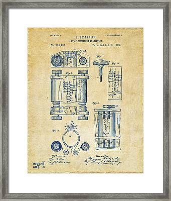1889 First Computer Patent Vintage Framed Print by Nikki Marie Smith
