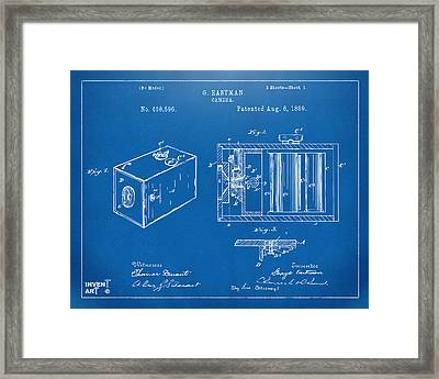 1889 George Eastman Camera Patent Blueprint Framed Print by Nikki Marie Smith